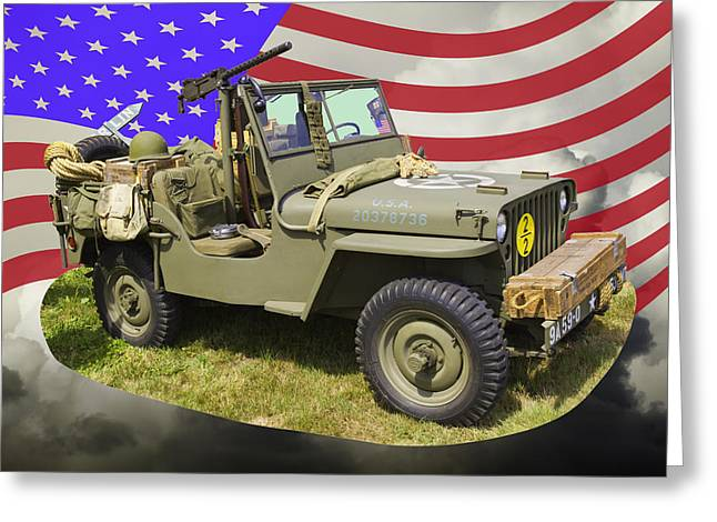 Oldtimer Greeting Cards - Willys World War Two Army Jeep And American Flag Greeting Card by Keith Webber Jr
