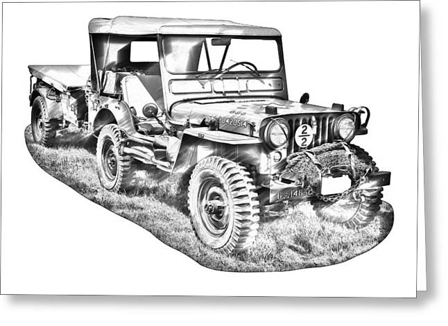 Oldtimer Greeting Cards - Willys World War Two Army Jeep Illustration Greeting Card by Keith Webber Jr