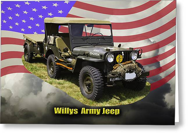 Oldtimer Greeting Cards - Willys World War Two Army Jeep Greeting Card by Keith Webber Jr
