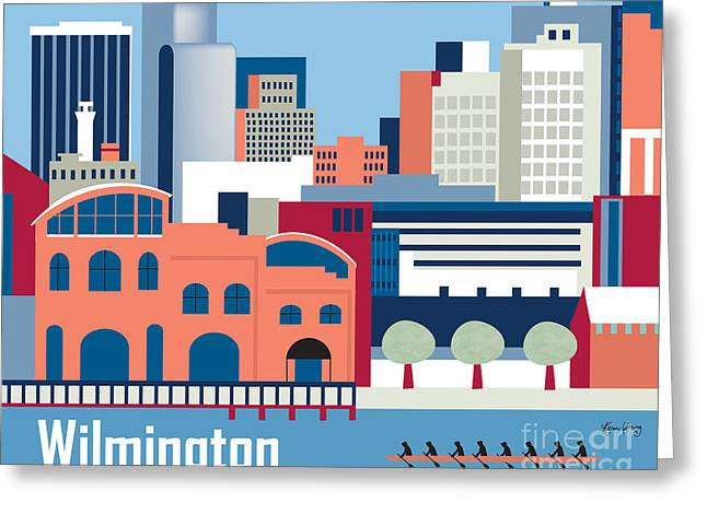 Wilmington Greeting Cards - Wilmington Delaware Skyline Greeting Card by Karen Young