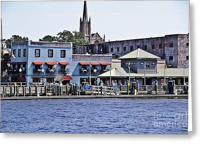 Brick Front Walk Greeting Cards - Wilmington Water Front Greeting Card by JW Hanley