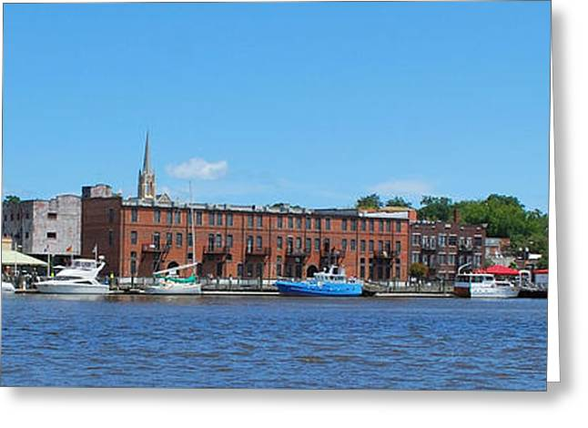 Historical Images Greeting Cards - Colorful Wilmington Waterfront Skyline Greeting Card by Bob Sample