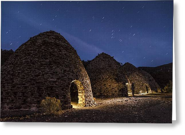 Night Photography Greeting Cards - Wilrose Charcoal Kilns Greeting Card by Cat Connor