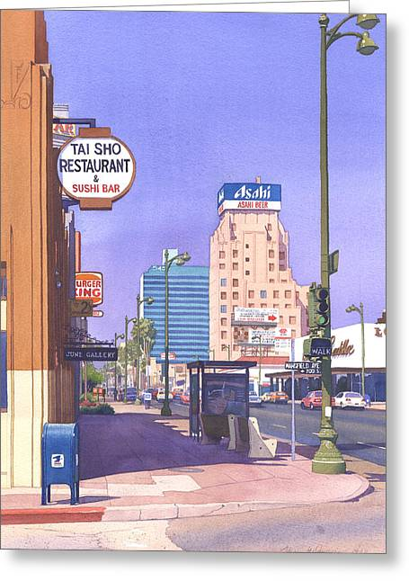 Bus Stop Greeting Cards - Wilshire Blvd at Mansfield Greeting Card by Mary Helmreich