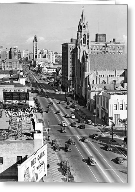 Wilshire Boulevard In La Greeting Card by Underwood Archives