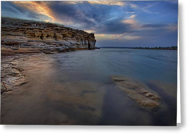 Boating Lake Greeting Cards - Wilson Red Rock Sunset Greeting Card by Thomas Zimmerman