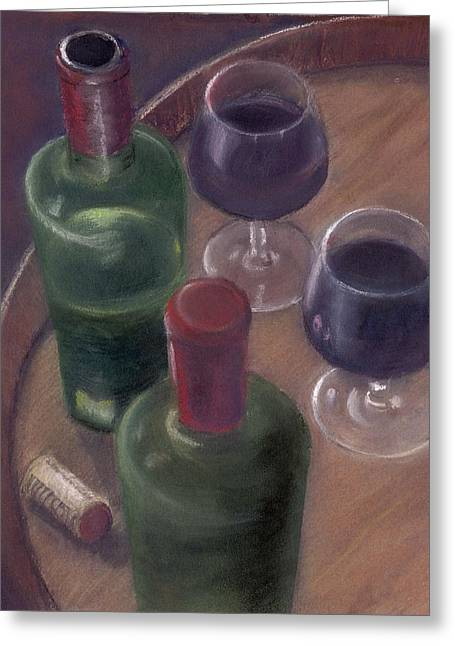 Barrel Pastels Greeting Cards - Wilson Wine Tasting Greeting Card by Ellen Minter