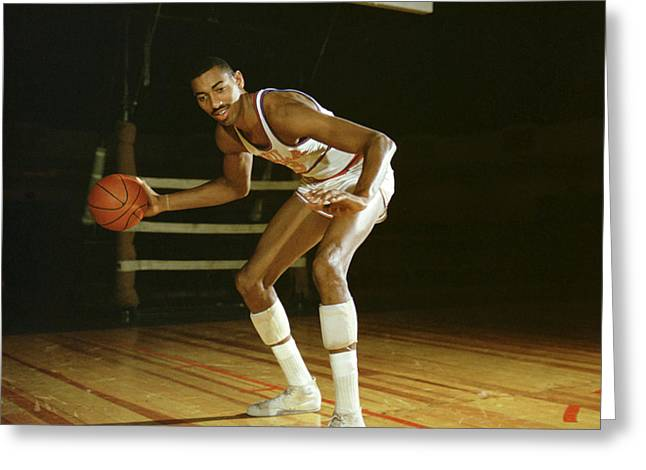 African-americans Greeting Cards - Wilt Chamberlain Dribbling Greeting Card by Retro Images Archive