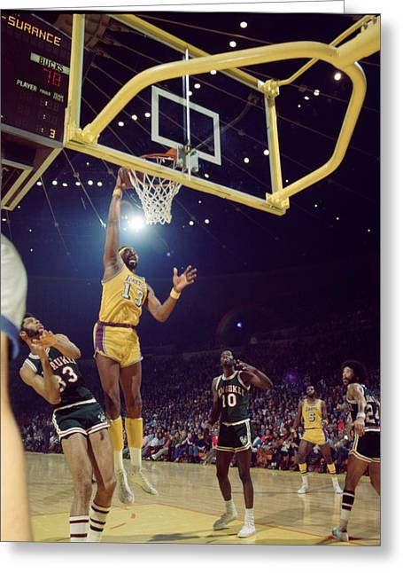 Dunk Greeting Cards - Wilt Chamberlain Dunks Greeting Card by Retro Images Archive