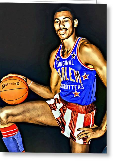 Lakers Greeting Cards - Wilt Chamberlain Greeting Card by Florian Rodarte