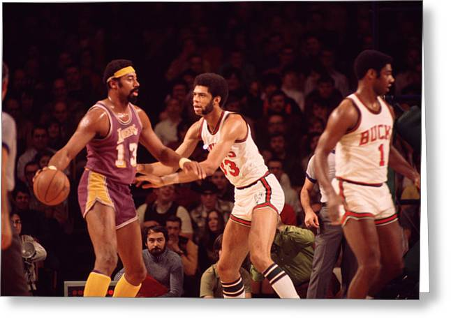 African-americans Greeting Cards - Wilt Chamberlain Guarded By Kareem Abdul Jabbar Greeting Card by Retro Images Archive