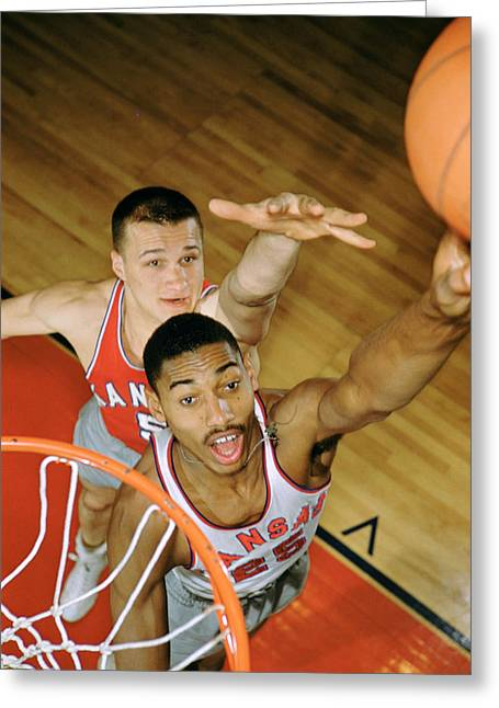 Intensity Greeting Cards - Wilt Chamberlain In College Greeting Card by Retro Images Archive