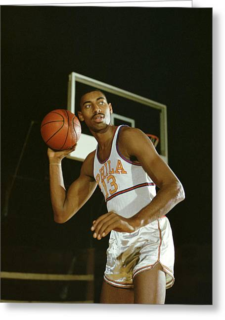 76ers Greeting Cards - Wilt Chamberlain Perhaps The Best Ever Greeting Card by Retro Images Archive