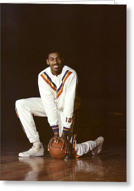Knelt Photographs Greeting Cards - Wilt Chamberlain Philadelphia Warriors Greeting Card by Retro Images Archive