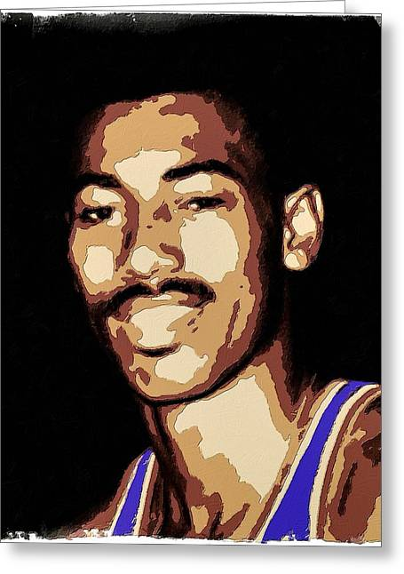 Lakers Greeting Cards - Wilt Chamberlain Poster Art Greeting Card by Florian Rodarte