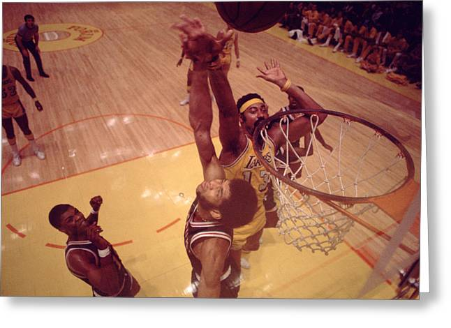 African-american Greeting Cards - Wilt Chamberlain Over Kareem Greeting Card by Retro Images Archive
