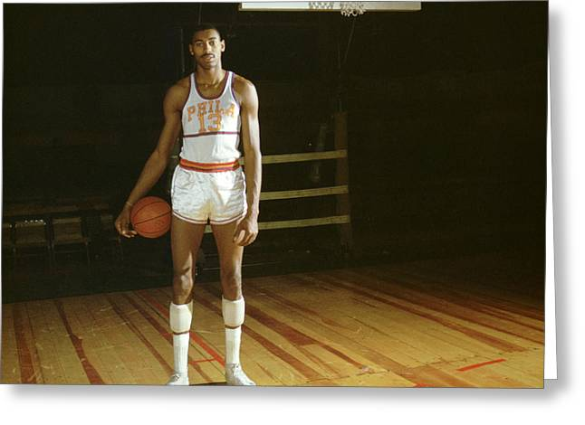 76ers Greeting Cards - Wilt Chamberlain Stands Tall Greeting Card by Retro Images Archive