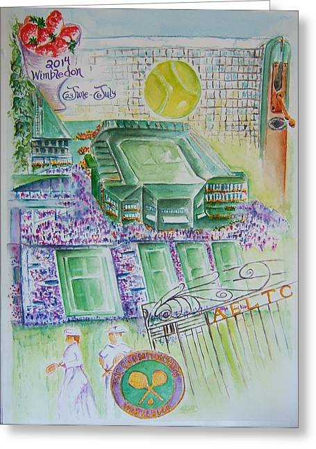 Slam Paintings Greeting Cards - Wimbledon 2014 Greeting Card by Elaine Duras
