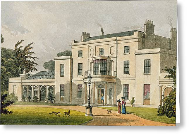 Jane Austen Drawings Greeting Cards - Wimbledon House, From Ackermanns Greeting Card by Thomas Hosmer Shepherd