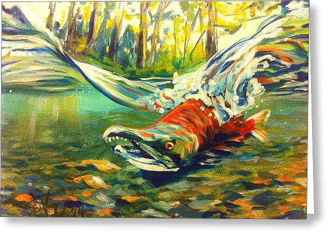 Best Sellers -  - Salmon Paintings Greeting Cards - Wompy Chompy Greeting Card by Kristi Sandberg