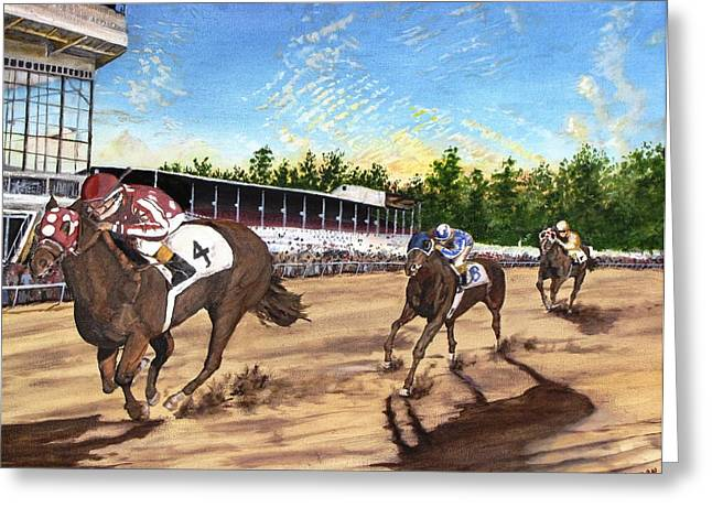 Win Place Show Greeting Card by Kevin F Heuman