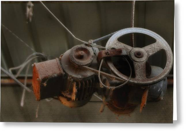 Rusty Oil Drum Greeting Cards - Winch and Pulley Hoist Greeting Card by Michael Braham