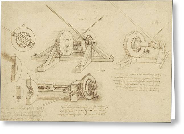 Texting Drawings Greeting Cards - Winch great spring catapult and ladder from Atlantic Codex Greeting Card by Leonardo Da Vinci