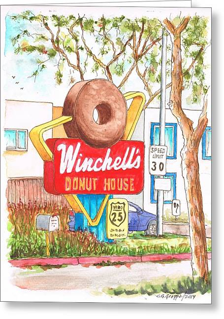 Donuts Paintings Greeting Cards - Winchells Donut House vintage sigh in Santa Monica Blvd - Los Angeles - California Greeting Card by Carlos G Groppa