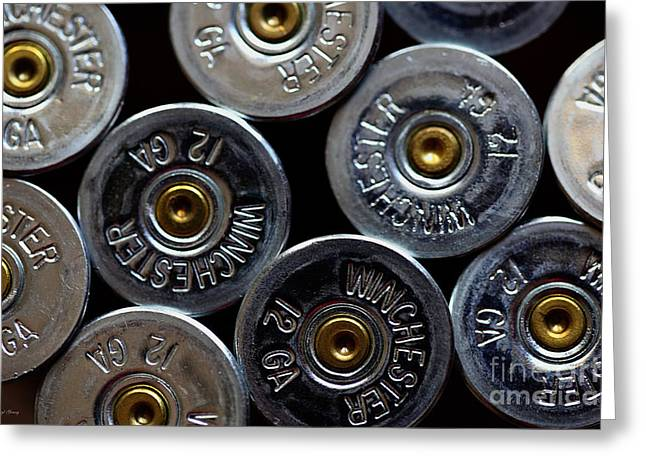 Hunting Cabin Photographs Greeting Cards - Winchester 12Gauge Greeting Card by Cheryl Young