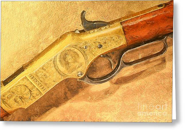 Crime Fighter Greeting Cards - Winchester 1866 yellow boy rifle Greeting Card by Odon Czintos