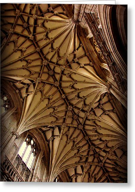 Gothic Cathedral Greeting Cards - Winchester Cathedral Ceiling Greeting Card by Stephen Stookey