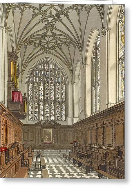 Stained Glass Windows Greeting Cards - Winchester College Chapel, From History Greeting Card by Frederick Mackenzie
