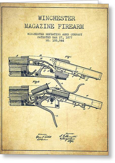 Firearm Greeting Cards - Winchester Firearm Patent Drawing from 1877 - Vintage Greeting Card by Aged Pixel
