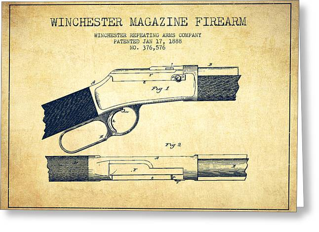 D Greeting Cards - Winchester Firearm Patent Drawing from 1888- Vintage Greeting Card by Aged Pixel