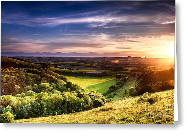 Peaceful Scenery Photographs Greeting Cards - Winchester hill sunset Greeting Card by Simon Bratt Photography LRPS