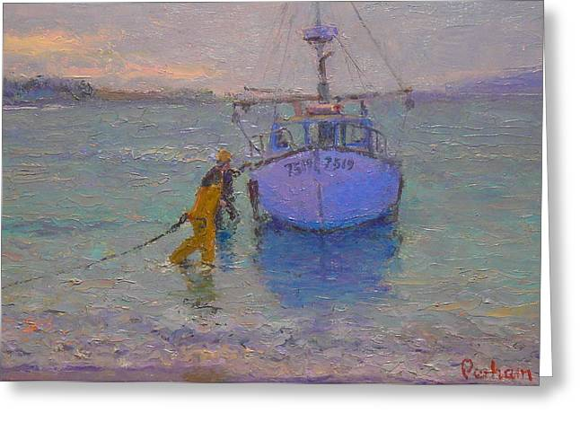 Terry Perham Paintings Greeting Cards - Winching in. Days end Greeting Card by Terry Perham