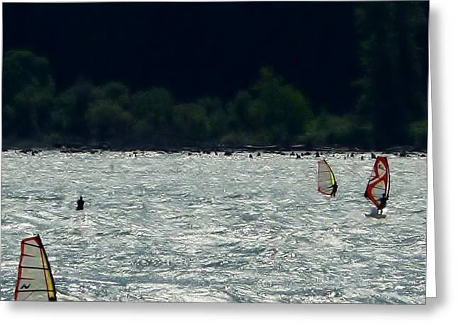 Kite Surfing Greeting Cards - Wind and Kite Surfing Oregon Greeting Card by Susan Garren