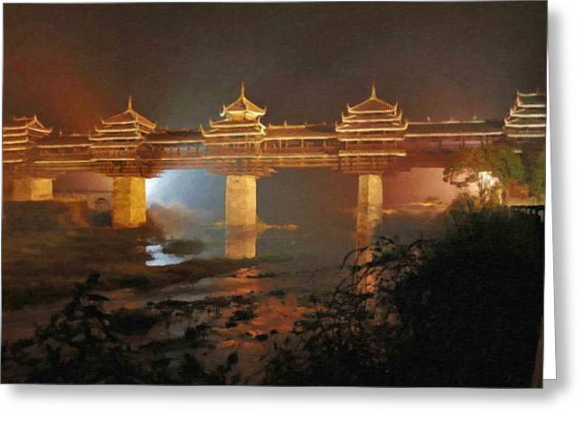 Chinese Peasant Greeting Cards - Wind and Rain Bridge Greeting Card by Lanjee Chee