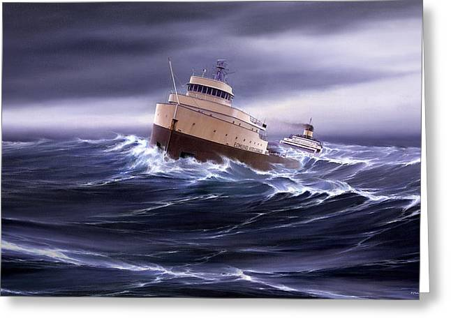 Storm Prints Greeting Cards - Wind and Sea Astern Greeting Card by Captain Bud Robinson