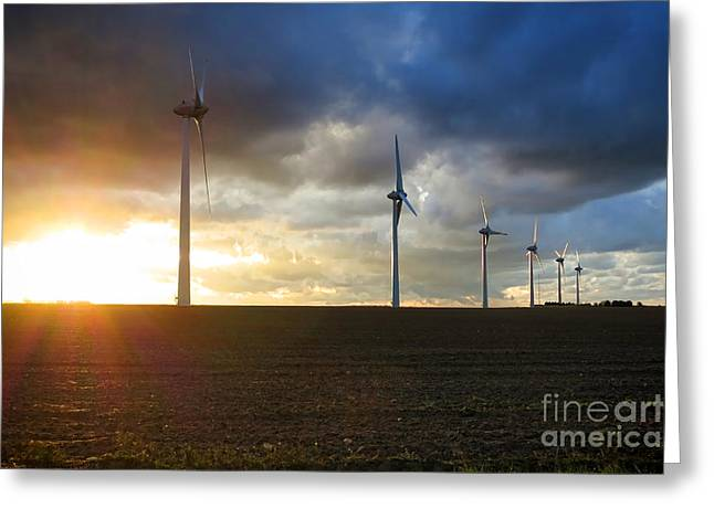 Windmills Greeting Cards - Wind and Sun Greeting Card by Olivier Le Queinec