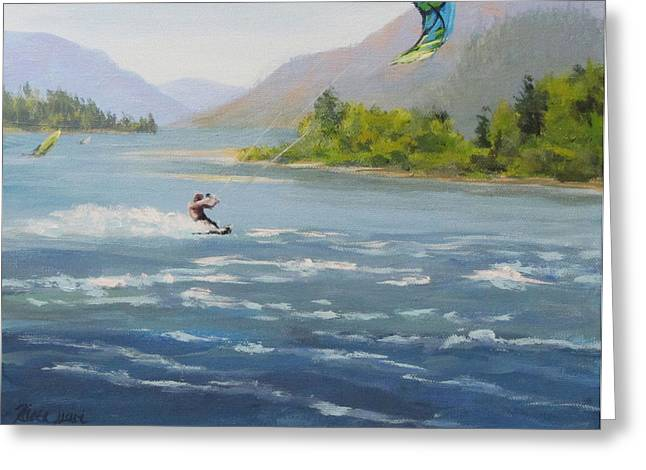 Kite Surfing Paintings Greeting Cards - Wind and Water Greeting Card by Karen Ilari