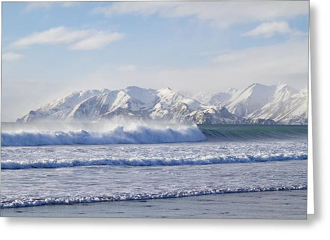Wind and Waves On Kodiak Greeting Card by Tim Grams