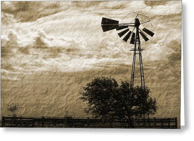 Windmill And Tree Greeting Cards - Wind Blown Greeting Card by Tony Grider