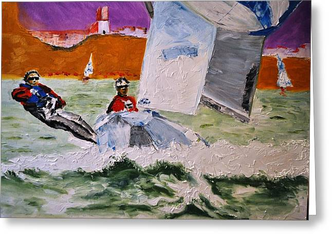 Wind Surfing Art Paintings Greeting Cards - Wind Chaser Greeting Card by Ruben Barbosa