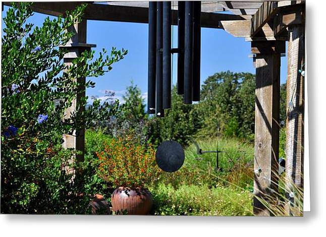 Wind Chime in a Garden Greeting Card by Mandy Judson