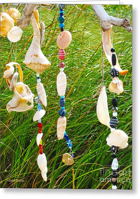 Wind Chimes Greeting Cards - Wind Chimes at the Beach Greeting Card by Michelle Wiarda