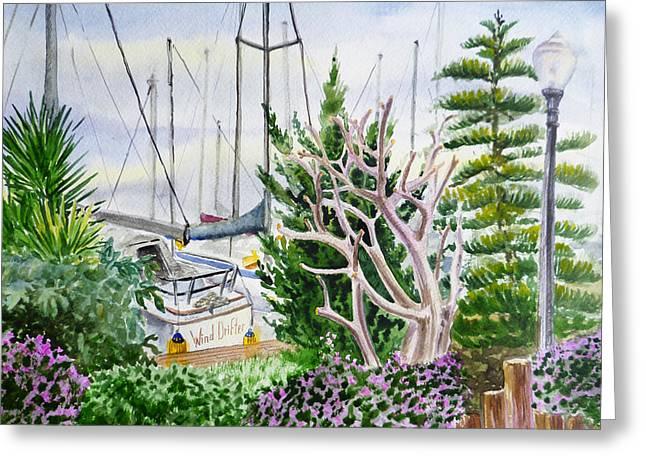Sailboat Art Greeting Cards - Wind Drifter Boat Oakland Marina California  Greeting Card by Irina Sztukowski