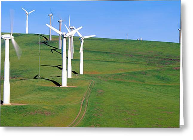 Livermore Greeting Cards - Wind Energy Windmills Along Route 580 Greeting Card by Panoramic Images