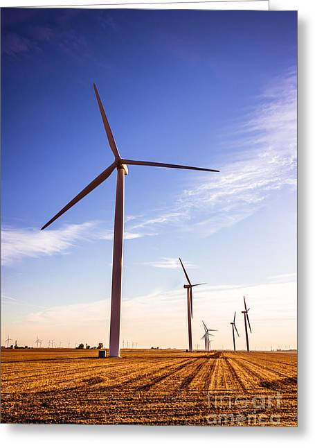 Indiana Farms Greeting Cards - Wind Energy Windmills Picture Greeting Card by Paul Velgos