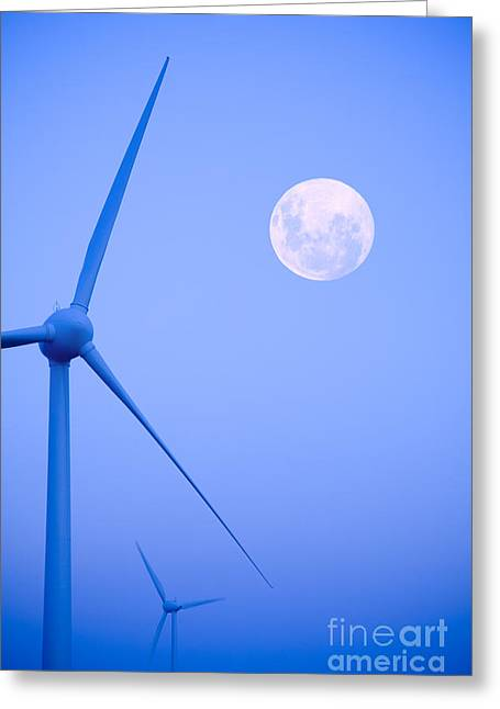 Moonrise Greeting Cards - Wind Farm  and Full Moon Greeting Card by Colin and Linda McKie